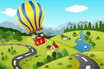 Kids riding hot air balloon