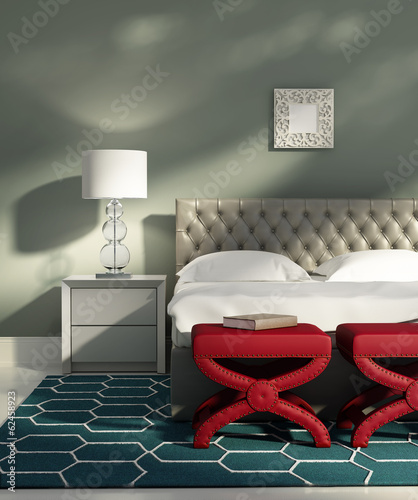 Contemporary elegant teal turqoise bedroom with red stools