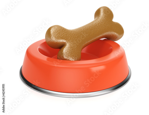 Red pet food bowl