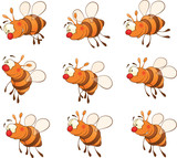 set of bees cartoon