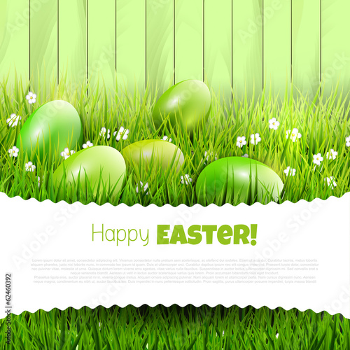 Green Easter background with copyspace
