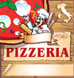 pizzeria background   with italian chef
