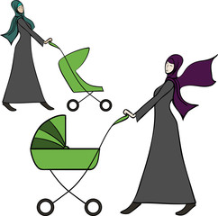 arab young woman pushing a a baby stroller