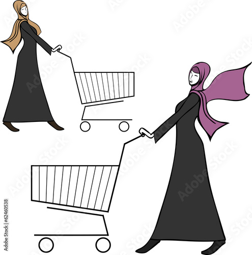 arab young woman pushing a shopping cart