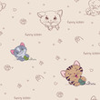 Cartoon seamless pattern with cute  cats