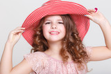 Summer portrait of little girl in hat