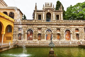 Mercury Fountain Statue Mosaics Alcazar Royal Palace Seville