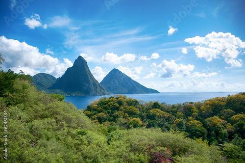 Foto op Canvas Caraïben Panorama of Pitons at Saint Lucia, Caribbean