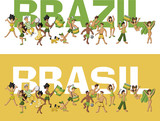 Group of cartoon brazilian people having fun