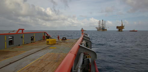 Anchor Handling Operation of an Offshore Gas platform at sea