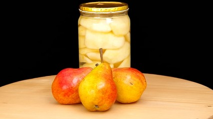 Three pears and canned pears