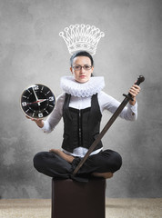 Queen of office with clock, sword and pictured crown