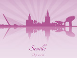 Seville skyline in purple radiant orchid