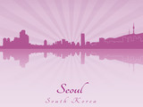 Seoul skyline in purple radiant orchid