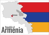 Map of Armenia and flag, vector