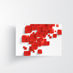 Vector  square. Abstract background card and red. 3d