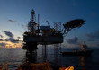 Oil and gas platform with beautiful sky during sunset - 62462916