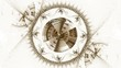 old clock mechanism, ancient metallic cogwheel on white, loop