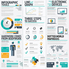 Modern fresh colored business infographic vector elements