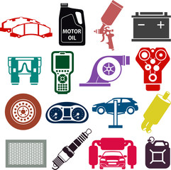 Car service icons in color
