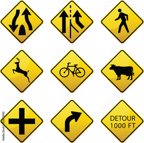 Warning traffic signs icons