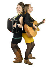 Two girls playing music
