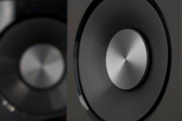 Speakers hi-fi audio close up