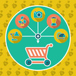 Abstract internet shopping cart flat concept