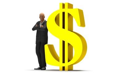 Uomo d'affari con dollaro