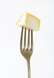 Chevre cheese on fork