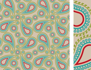Seamless floral paisley illustration vector