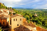 Tuscan countryside and Montepulciano at sunset, Italy