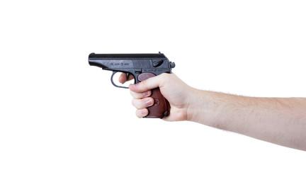man's hand holding a pistol Makarov