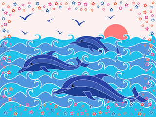 Three Dolphins in the sea waves