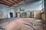 Abandoned sports hall in a devastated building