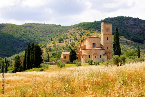 Abbey of Sant'Antimo among the hills of Tuscany, Italy - 62466319