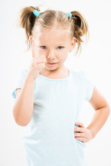 Angry little girl scolding