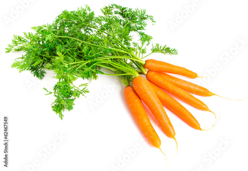Fotobehang Groenten Fresh carrots isolated on white background