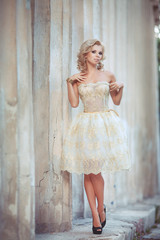 Vogue sexy woman in wedding dress retro bride luxury