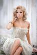canvas print picture - blonde sexy woman vogue style bride wedding fashion