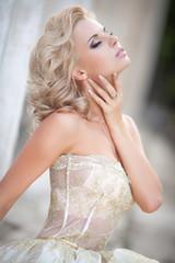 Vogue style Bride woman in wedding dress retro luxury