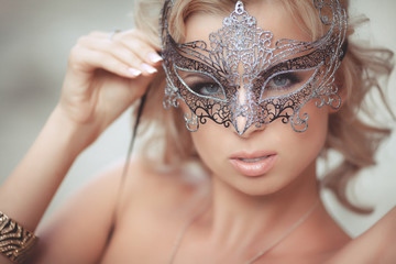 Vogue sexy woman in Venetian mask Bride