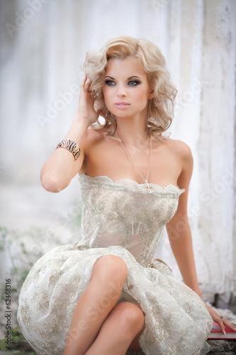 canvas print picture blonde sexy woman vogue style bride wedding fashion