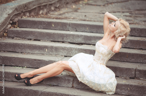 Vogue style Bride woman in wedding dress retro luxury