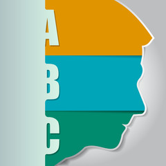 Vector background with a silhouette of the head and three ABC st