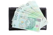 Economy and finance. Purse with polish banknote isolated