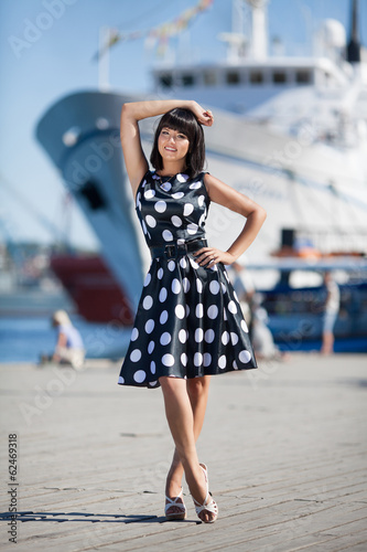 Beautiful woman at sea cruise ship at  summer
