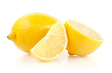 Lemons with Half and Slice Isolated on White Background