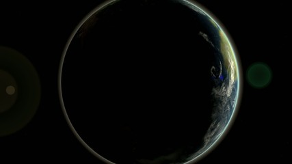 Dynamic camera animation planet earth views