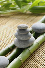 balanced stones on green bamboo grove on mat